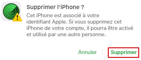 Message de confirmation iCloud