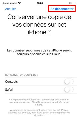 Conserver ses données iPhone