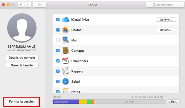 Paramètres iCloud Mac